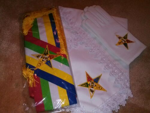 Order of the Eastern Star New Member Kit with Large gloves