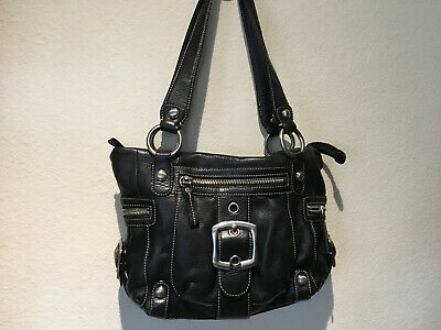 "B.Makowsky Black Textured Leather Satchel Handbag, 12"" x 9"""