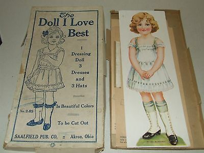 "Antique 1910 Saalfield ""The Doll I Love Best"" Uncut Paper Doll with Original Box"