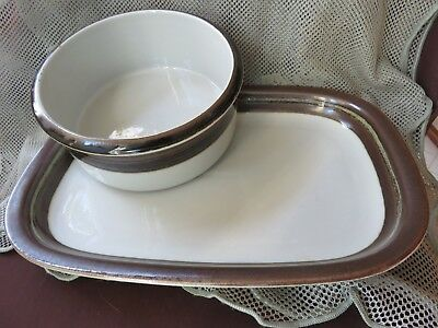 TWO ARABIA FINLAND SERVING-BACKING DISHES-PLATTER & BOWL