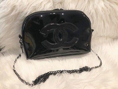 Chanel Make up Bag w/ a Crossbody Metal Chain Black Patent VIP Gift