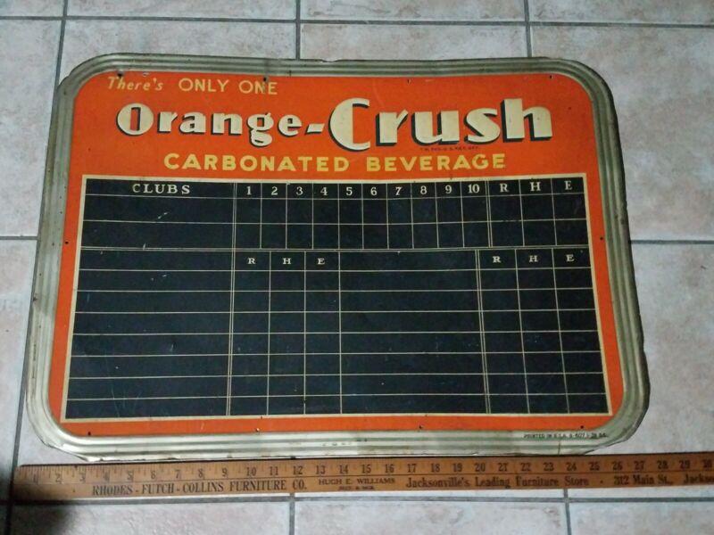 Antique 1939 Orange Crush Metal Sign Scoreboard Baseball Vintage Soda Beverage