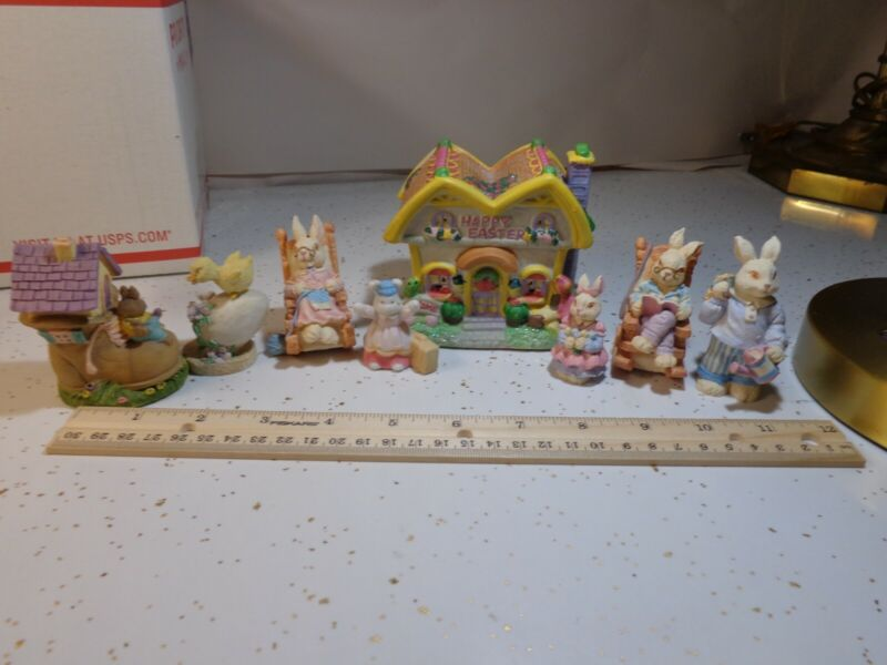Easter Village lot of 7 mixed Bunny Rabbit Ceramic Resin Figurines W/House