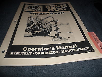 Drawer 6 Bush Hog 2100 Series Post Hole Digger Assembly Operators Manual