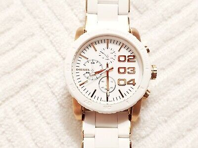 Diesel Rose Gold Tone Chronograph White Watch Stainless Steel Silicone   Gold Tone Rose Wrist Watch