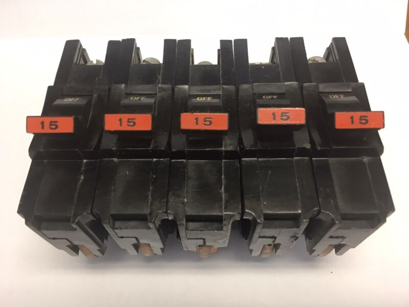 5 - Federal Pacific STAB-LOK  Thick 15 Amp Breakers