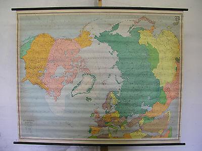 Schulwandkarte Wall Map School Map North Arctic Northern Globe 145x117 59