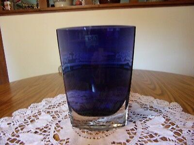 """LSA INTERNATIONAL COBALT/CRYSTAL 8 1/2"""" SQUEEZED VASE HANDCAFTED IN POLAND"""