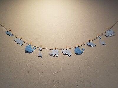 10 pcs DIY banners for Baby Shower/Room Animal Paper Decor - Its a Boy (Blue)
