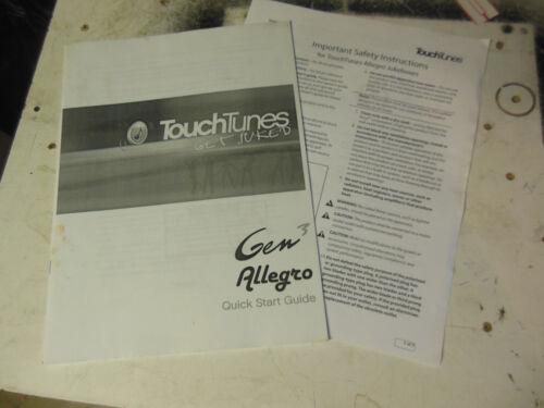 TOUCH TUNES ALLEGRO GEN 3  TOUCHTUNES original JUKEBOX  machine  manual