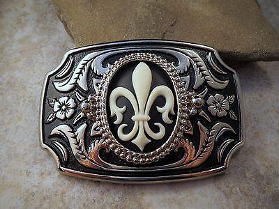 (Handmade Antique Silver Steampunk Fleur De Lis Cameo Belt Buckle)