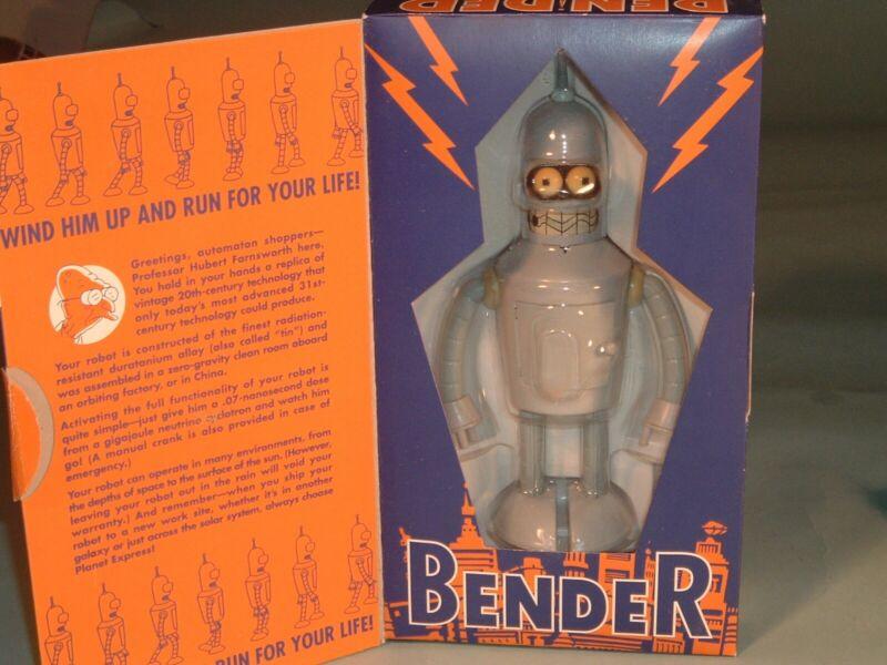 Futurama Bender Robot Wind Up Action Toy 2000 Original Flap Box