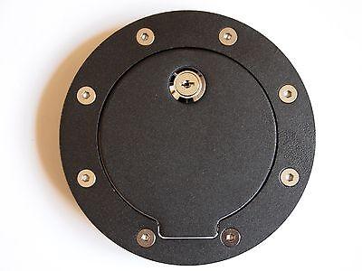 Black Billet Gas Fuel Door Cover w/Lock Ford 99-10 F250 350 Super Duty Excursion