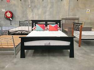 DELIVERY TODAY LUXURY BLACK WOOD double bed (mattress available)