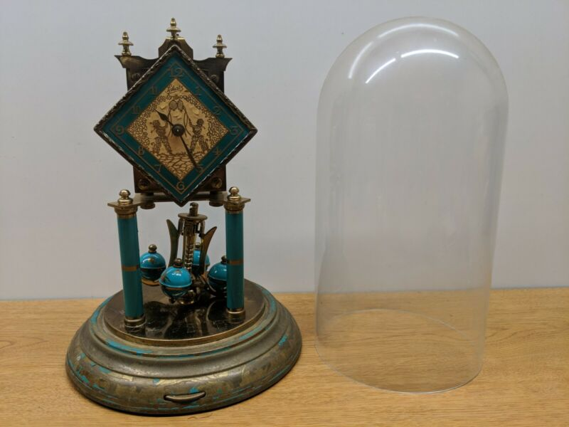Vintage Schatz Diamond Turquoise Glass Dome Anniversary 400 Day Mantel Clock