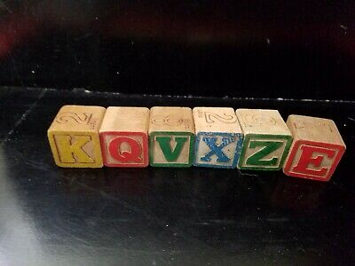 """6 VINTAGE WOODEN ALPHABET BLOCKS  1 1/4""""  PICTURES NUMBERS MADE IN JAPAN"""