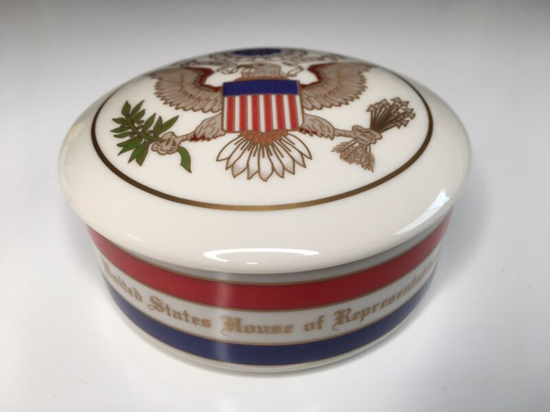 US House of Representatives Great Seal (Eagle) Round Pickard China Box w/ cover