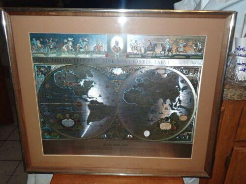 """William Janszon Blaeu Wall Map Gold Metallic Foil Print Matted Framed 25"""" x 21"""""""