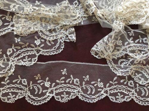 19th C. Brussels bobbin lace applique long border yardage  COSTUME BRIDAL