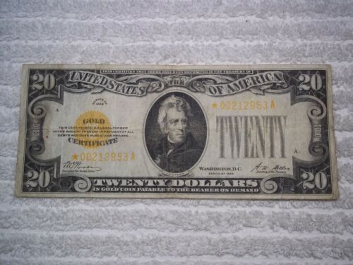 1928 $20 GOLD Certificate  STAR NOTE Woods Mellon signatures #