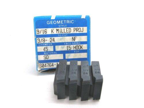 "(4) GEOMETRIC INSERT CHASERS 9/16"" K MILLED, 3/8""-24 NF, 15º HOOK 45º CHAMFER"