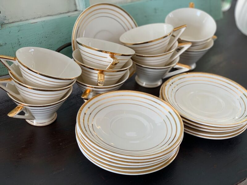 Century Ware by Salem STREAMLINE by Salem Art Deco China Set of 12 Cups Saucers