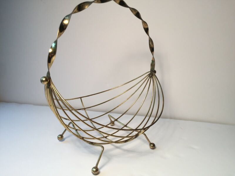 """Vintage Mid Century Modern Brass Fruit Basket Footed Handle 11"""" Tall 9"""" Wide"""