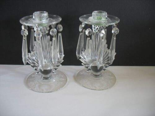Vintage Pair FOSTORIA Etched MAYFLOWER Candlestick holders FLAME w prisms