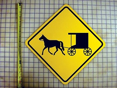 AMISH HORSE AND BUGGY CROSSING YELLOW ALUMINUM - Horse And Buggy