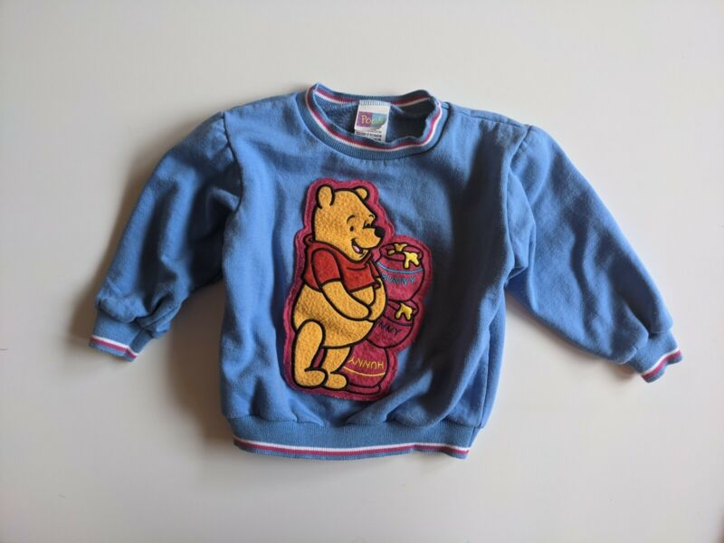 Vintage Winnie the Pooh Patch Toddler Crew Neck Pullover Sweatshirt Size 3T