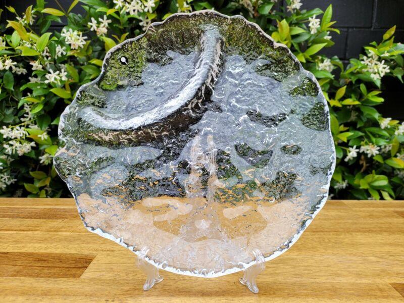 Vintage Pukeberg Swedish Glass Platter ~ Ice Textured Glass Tray ~ Scandinavian