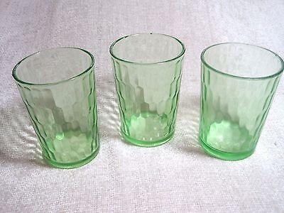 Vintage green depression water glasses 3 total 2 federal 1 unmaked look similar