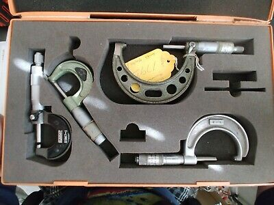 Mitutoyo Micrometer Set 0-4 In .001 With Original Box Slocomb Machinist