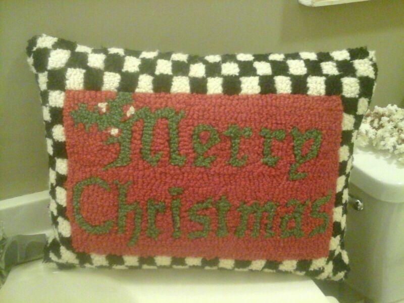 """Mackenzie Childs MERRY CHRISTMAS Wool Looped Lumbar Pillow 21""""x14"""""""