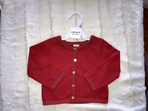 Red Cardigan Sweater 9 months - gold buttons Carter's.