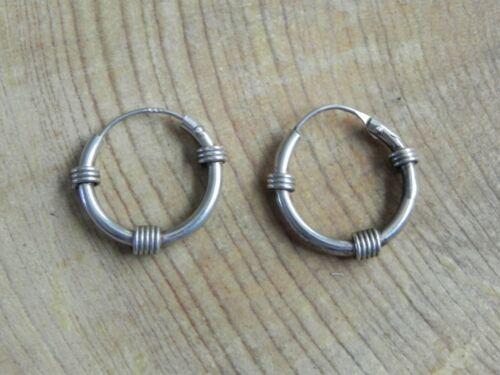 """Sterling Silver .925 Wire Wrap design HOOP Earrings 5/8"""""""