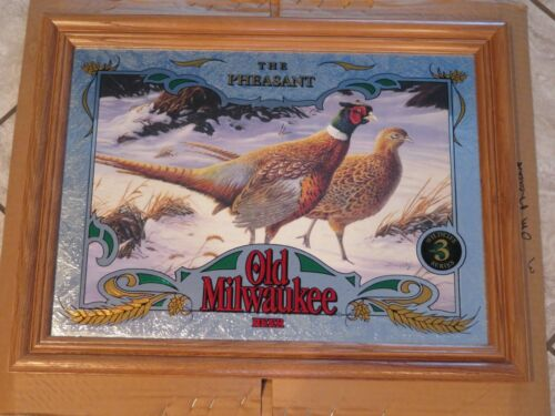 Old Milwaukee Beer Wildlife Mirror Sign RING NECKED PHEASANT Hunting MINT in BOX