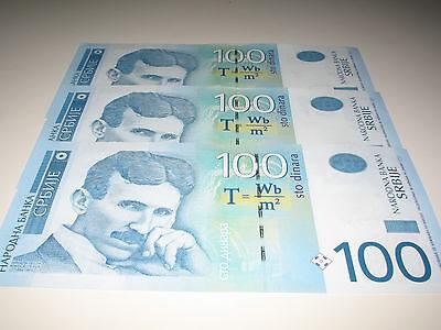 Serbia Banknote 100 Dinara Dinar Dinars Nikola Tesla 2013 Uncirculated