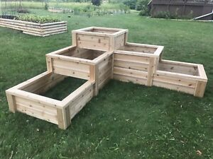 3-tier Custom Cedar raised bed gardens for sale