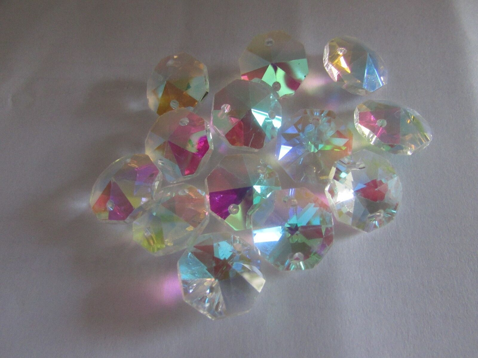 50-14MM AB AAA 2 HOLE CLEAR OCTAGON CRYSTAL GLASS BEADS CHANDELIER