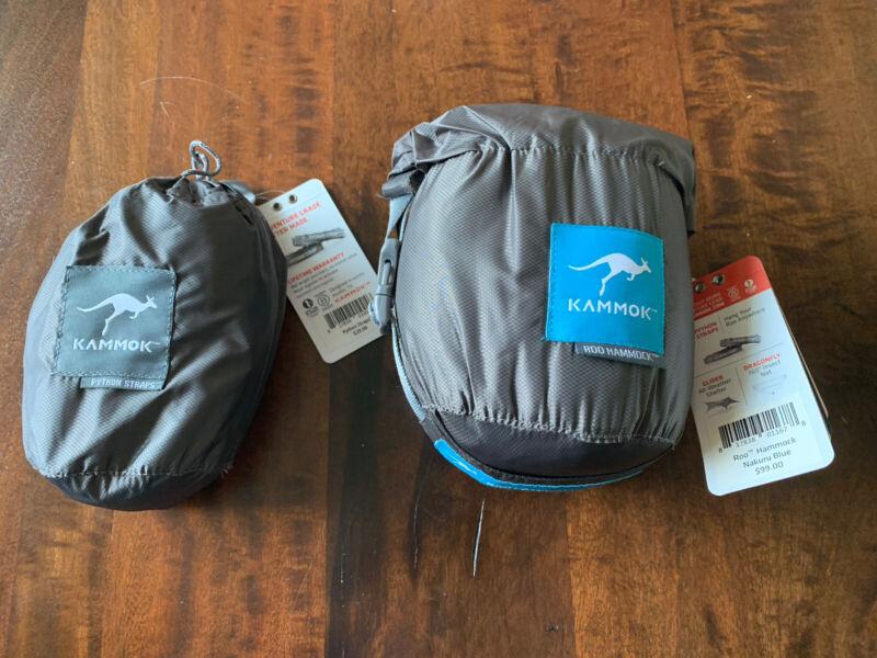 Brand New Kammok Roo Hammock Camping nakuru blue 500 lbs & NEW Python Straps