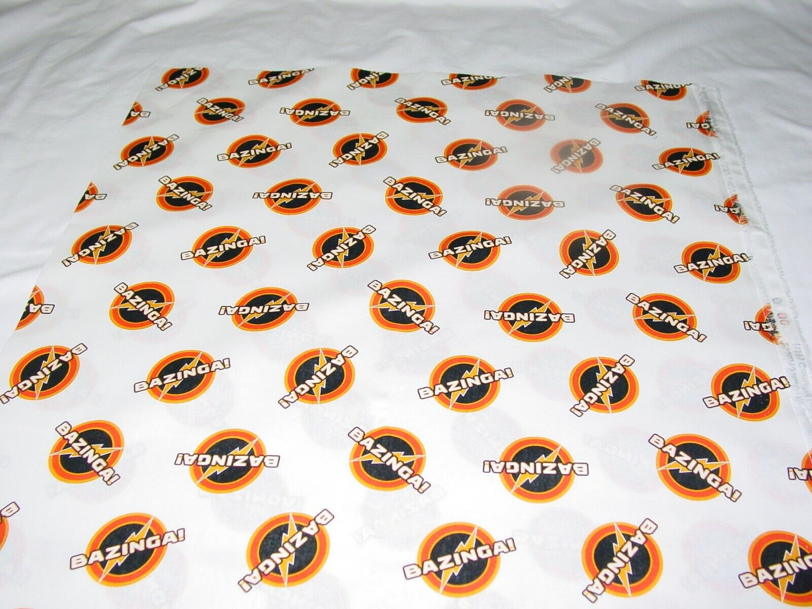 THE BIG BANG THEORY BAZINGA IN WHITE FABRIC REMNANT LENGHT 33 X WIDTH 42  - $9.50