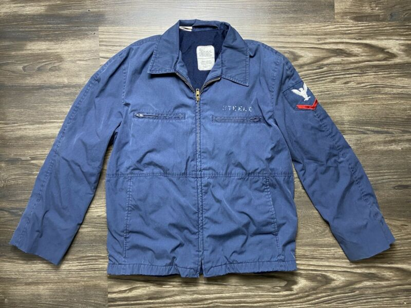 Vintage USN US Navy Utility Man's Jacket Blue Tagged 40S