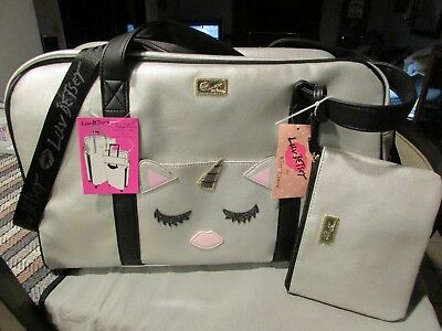 Luv Betsey Johnson Unicorn Slate Large Weekender Travel Bag & Wristlet/cross NWT