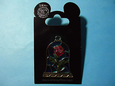 Disney Parks Beauty and The Beast Stained Glass Rose Pin  **NEW ON CARD**
