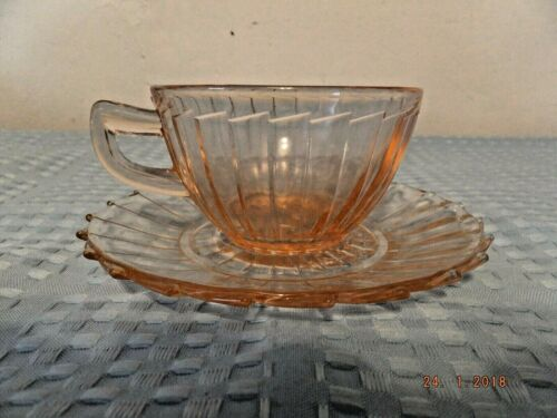 "Jeannette Pink Depression Glass Sierra Pinwheel ""Spoke"" Cup & Saucer Set"