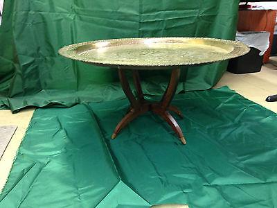 Danish Teak Folding Spider Leg Table w/ Large Brass Tray Top Oriental Dragon Koi ()