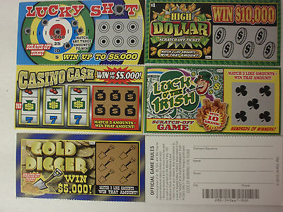 - 5 PHONY FAKE SCRATCH OFF ALL WINNING LOTTERY TICKETS GAG GIFT JOKE PRANK WINNER