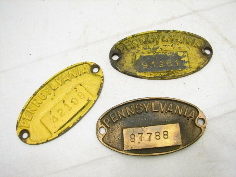 Lot 3 Vintage Brass Pennsylvania PRR Equipment Plate RR Train Badges Railroad
