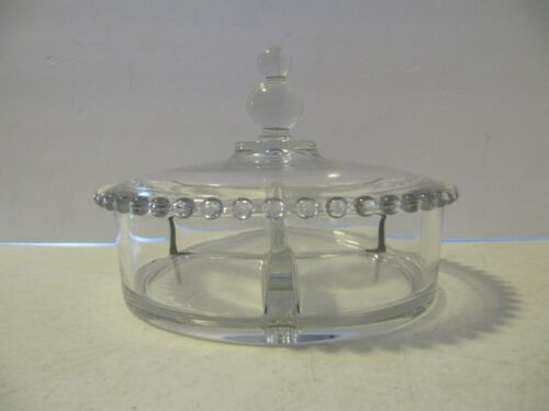 """Imperial Candlewick Crystal 7"""" 3 Part Divided Candy Dish With Lid"""